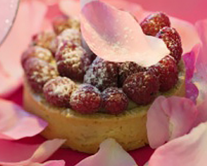 Hazelnut and Fresh Raspberry Tart