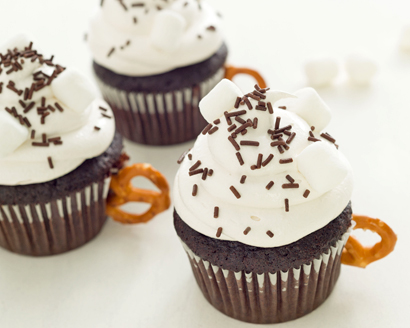 Hot Cocoa Cupcakes with Brown Sugar Frosting