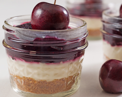 No-Bake Cherry-Topped Cheesecake in a Jar