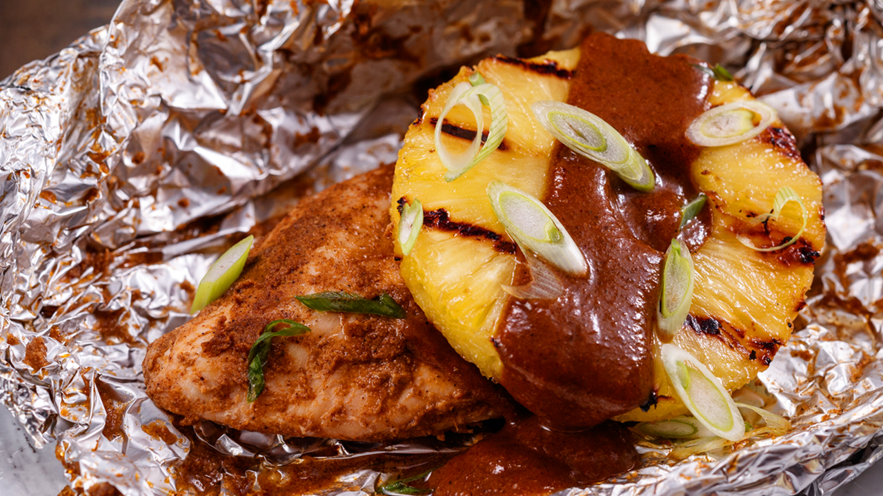 Foil Grilled Pineapple Jerk Chicken