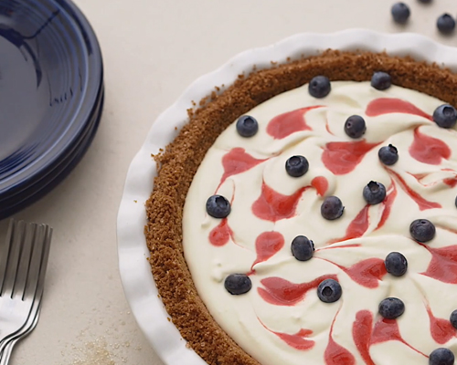 No-Bake Lemonade Red, White and Blueberry Pie