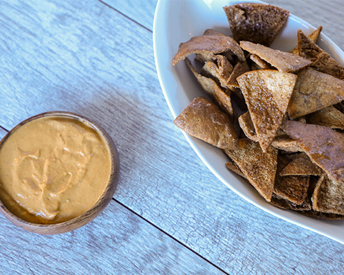 Cinnamon Pita Chips with Pumpkin Cream Cheese Dip