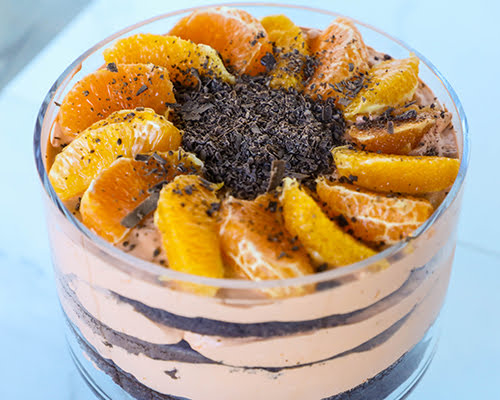 Blood Orange Mousse and Chocolate Cake Layered Trifle