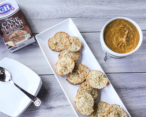 Savory Pumpkin Cheese Fondue with Caramelized Asiago Toasts