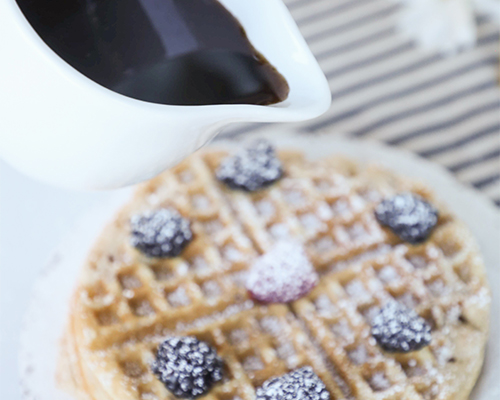 Waffles with Spiced Brown Sugar Syrup