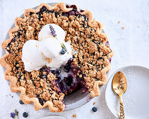 Blueberry Lavender Crumble Pie
