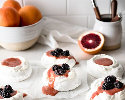 Petite Blood Orange Curd Meringues