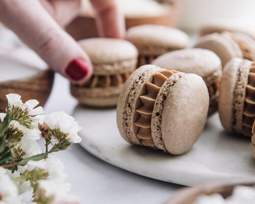 Malted Chocolate Macarons