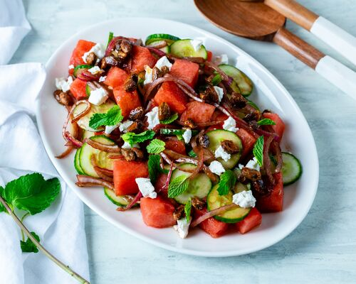 Watermelon Salad with Goat Cheese and Candied Pistachios